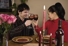 romantisches Abendessen als Paar bei einem Candle Light Dinner