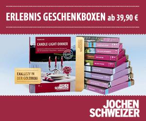 Beim Anbieter Jochen Schweizer finden sich nicht nur Adrenalin-Geschenke, sondern auch viele Gutscheine für Erlebnisdinner, wie zum Beispiel Candle Light Dinner oder Krimi-Dinner.
